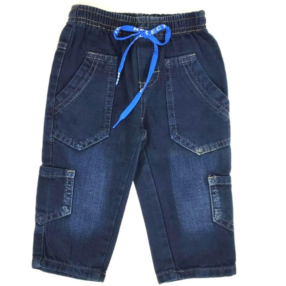 Calça Jeans Escura com Bolso Lateral