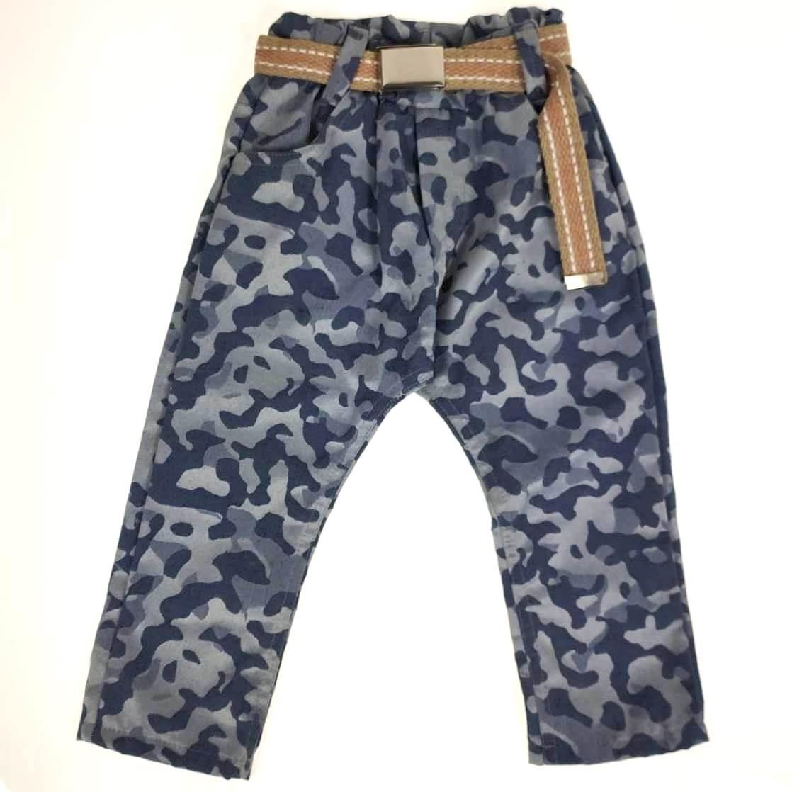 Calça Sarja Estampa Camuflada Azul com Cinto Kox