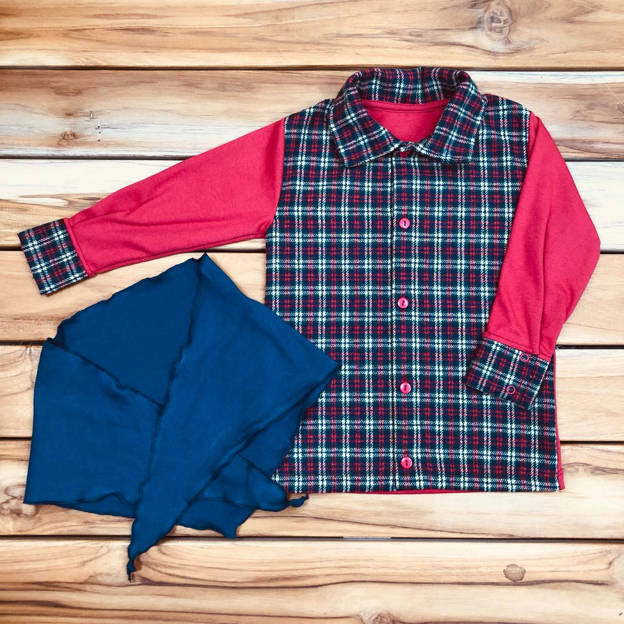 Camisa com Lenço Kids Xadrez