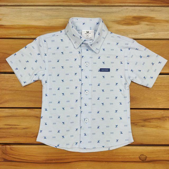 Camisa Curta Azul Claro Estampa
