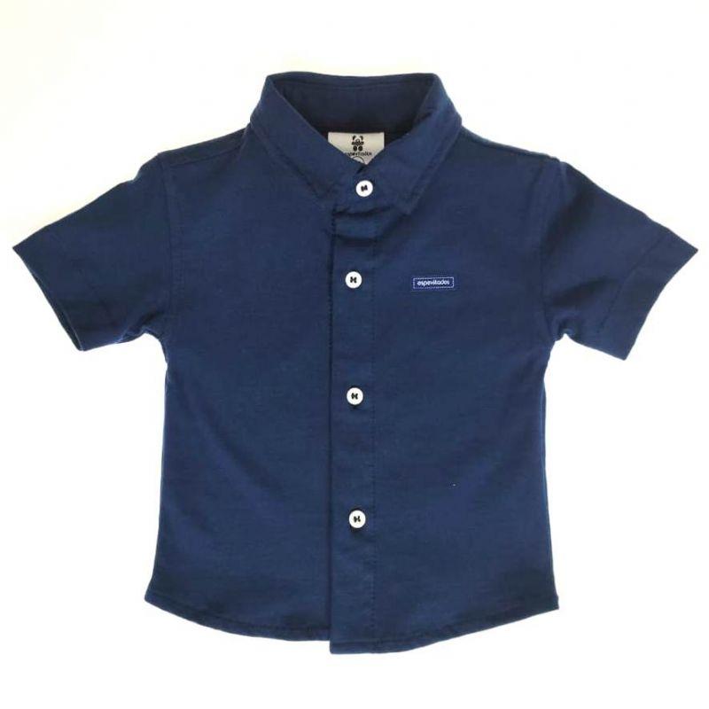 Camisa Curta Bebê Azul Lisa