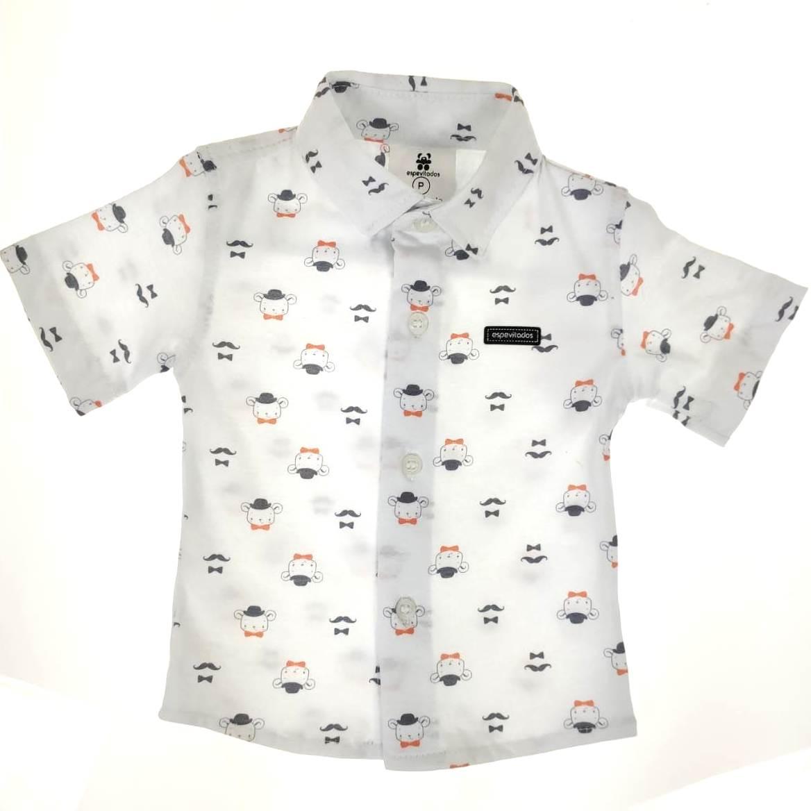 Camisa Curta Bebê Branca de Bigodes