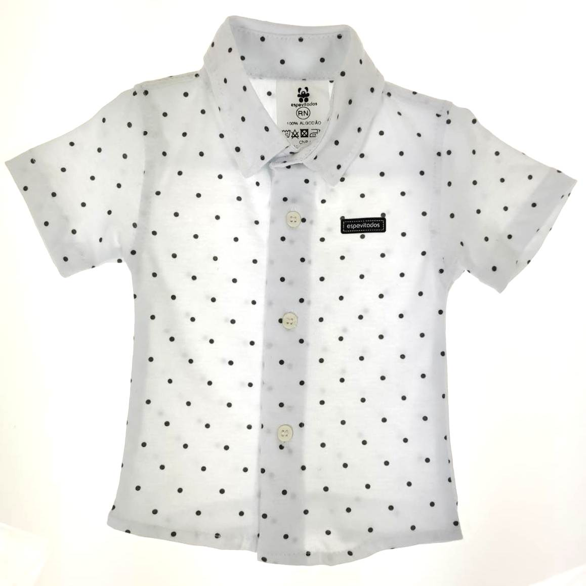 Camisa Curta Bebê Branca de Bolinhas