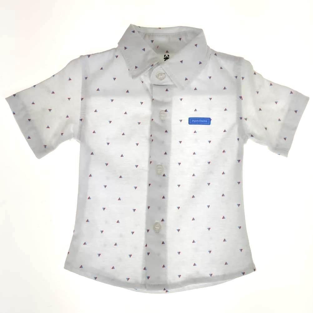 Camisa Curta Bebê Branca de Triângulos