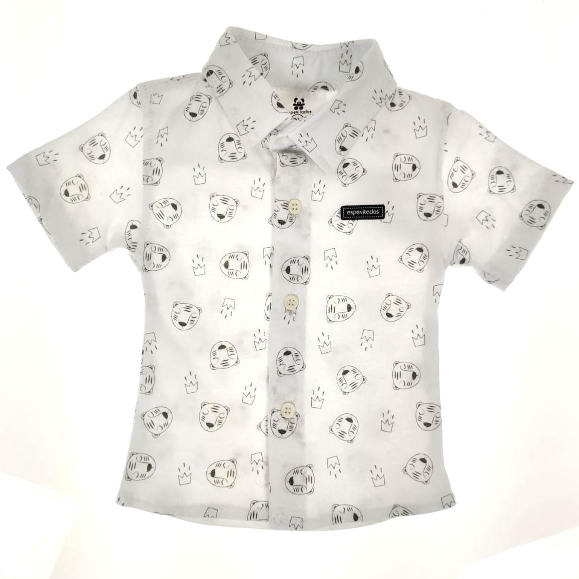 Camisa Curta Bebê Branca de Ursinhos
