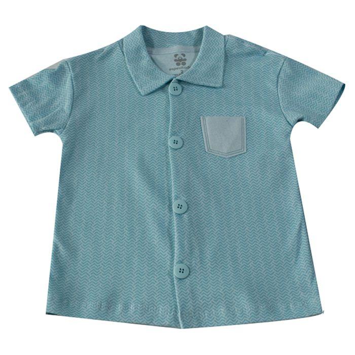 Camisa Curta Infantil com Botões Azul