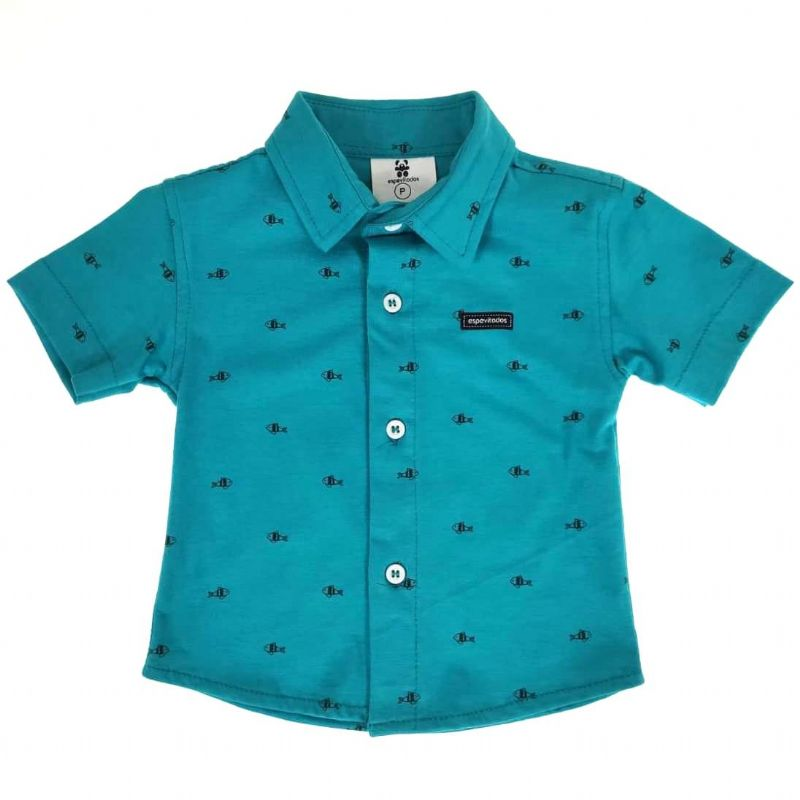 Camisa Curta Verde Escuro Peixes