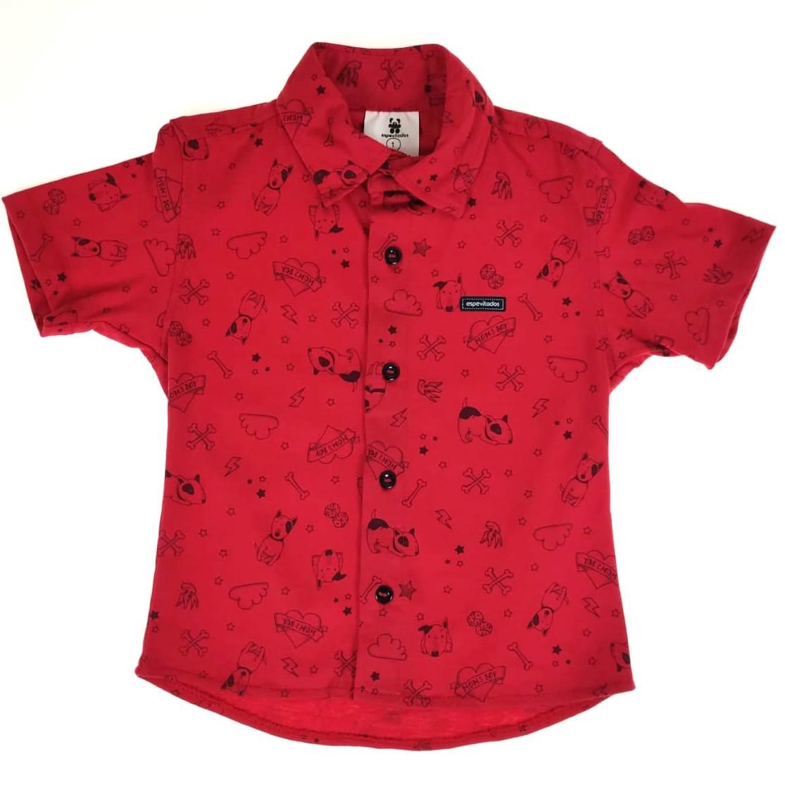 Camisa Curta Vermelha Cachorro