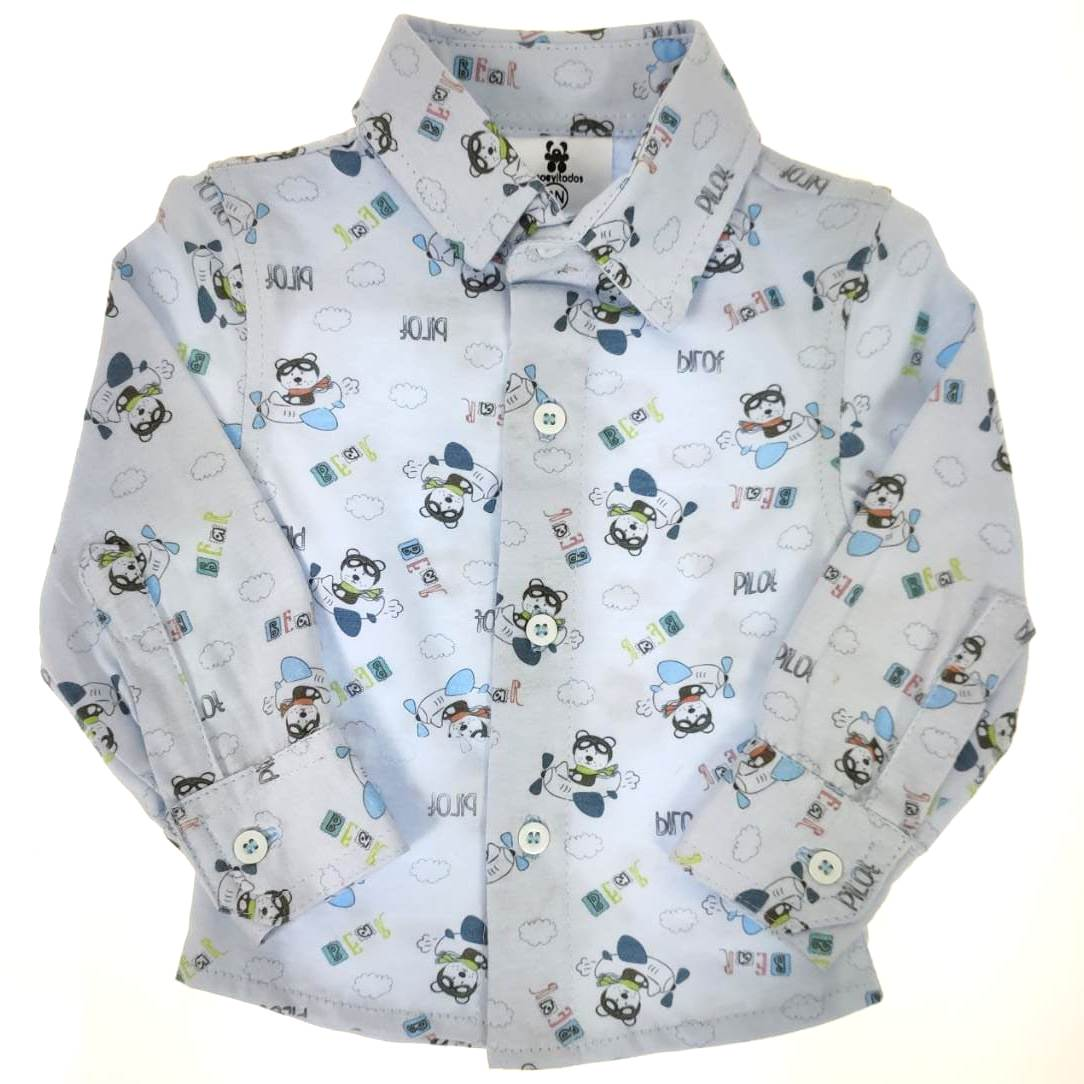 Camisa Longa Azul Estampa