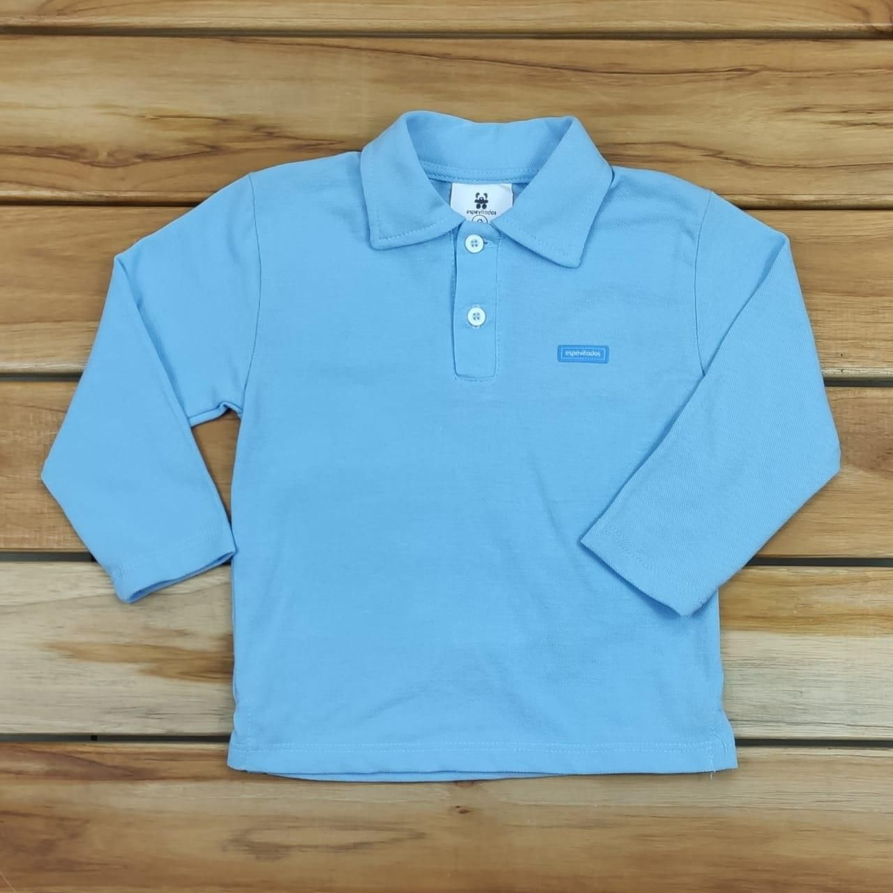 Camiseta Longa Gola Polo Azul Lisa