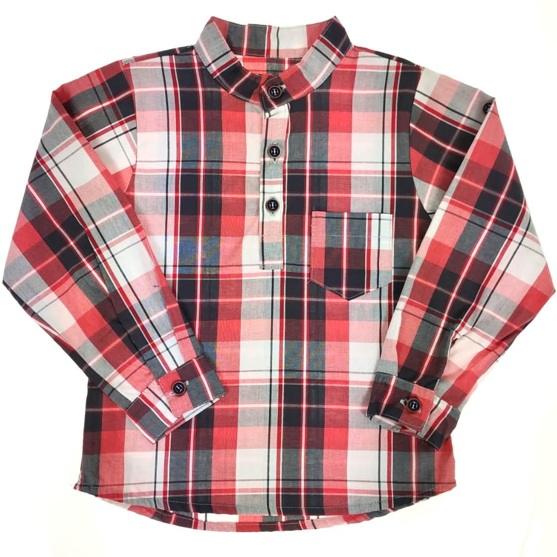 Camisa Longa Social Listrada Vermelha
