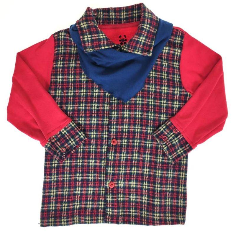 Camisa Manga Longa Xadrez com Bandana