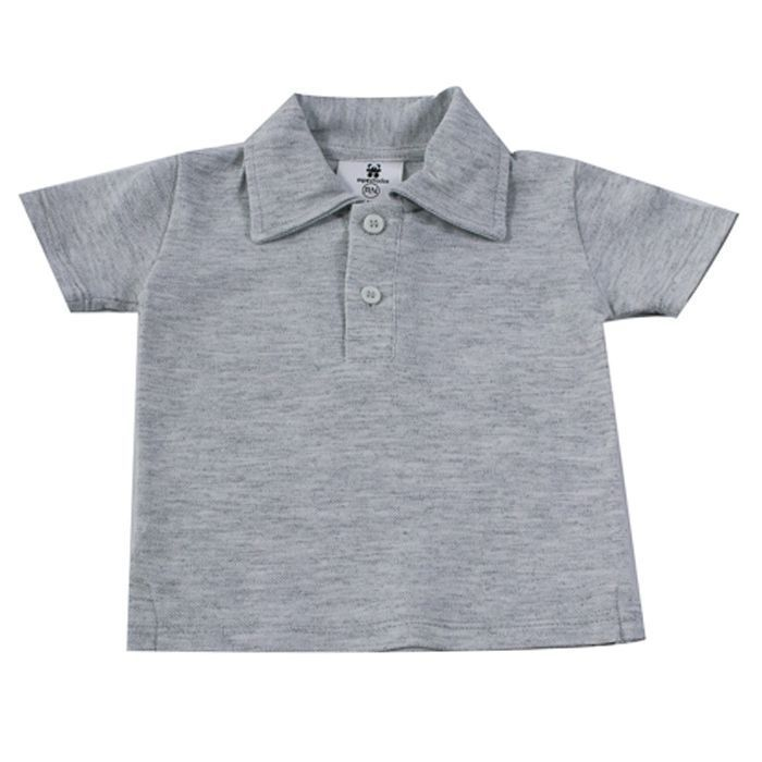 Camisa Polo Curta Mescla Lisa