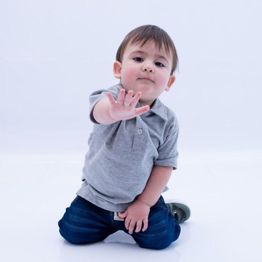 Camisa Polo Infantill Cinza