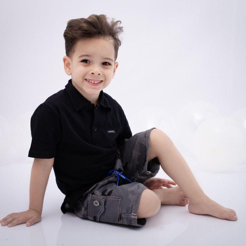 Camisa Polo Infantill Preta