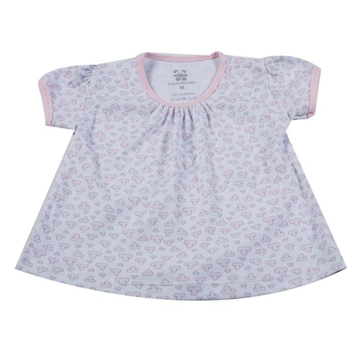 Camiseta Bata Curta Bebê Branca
