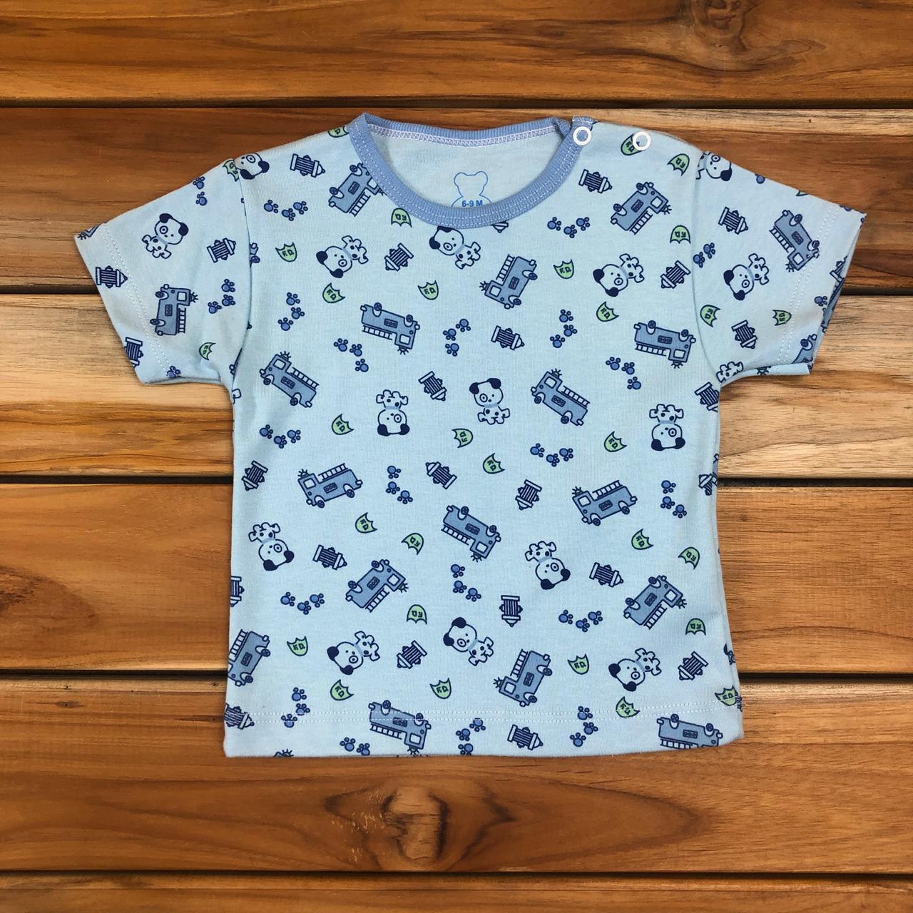 Camiseta Curta Bebê Azul