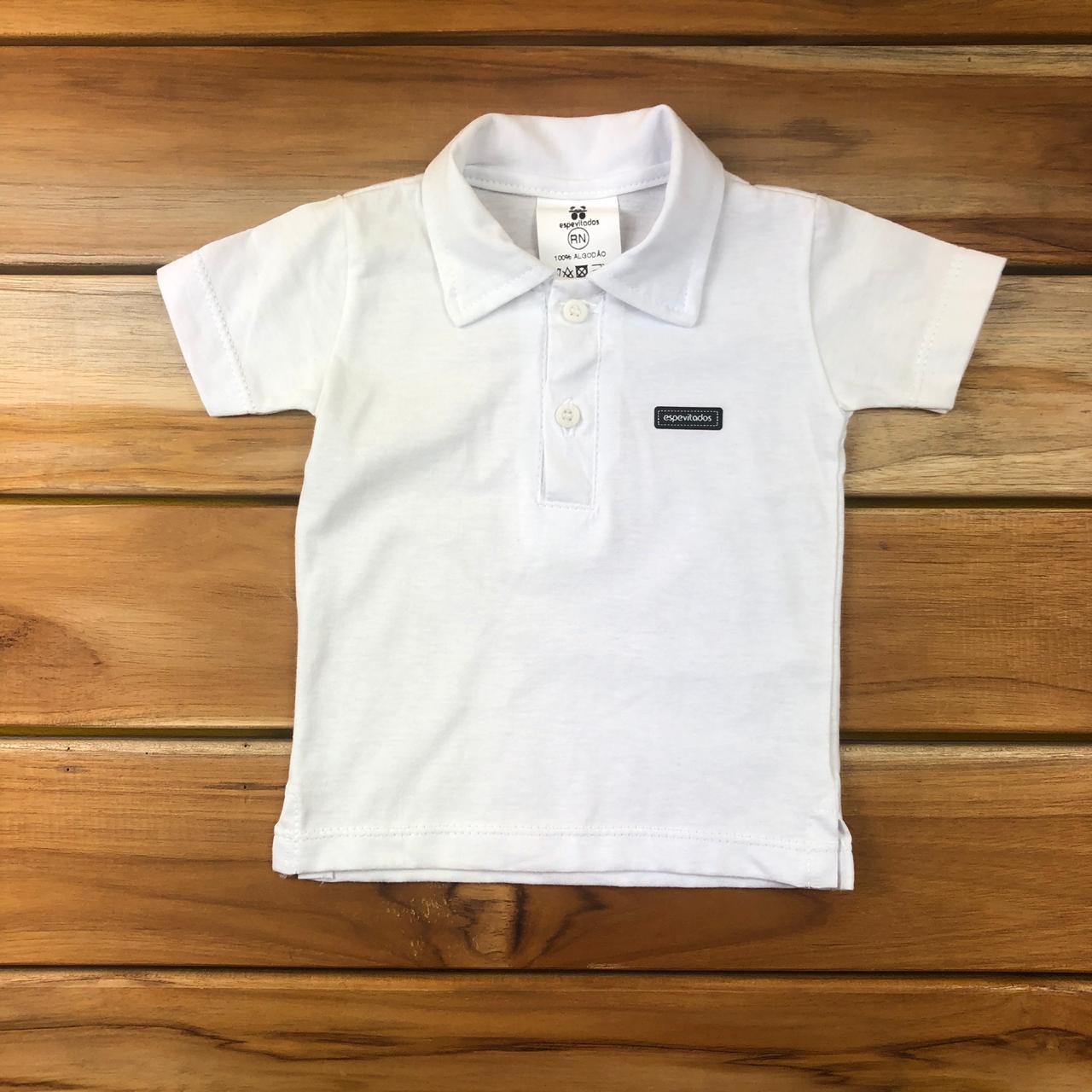 Camiseta Polo Curta bebê Branca