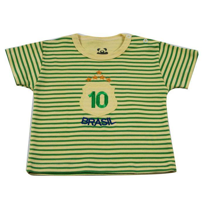 Camiseta Curta Bebê Brasil