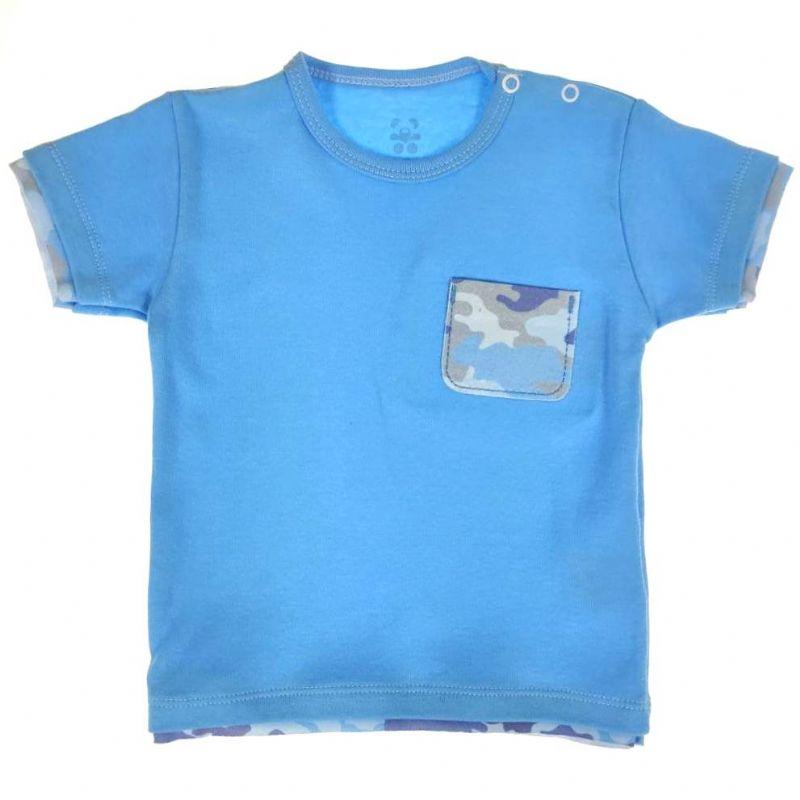 Camiseta Curta Bebê Azul Bolso
