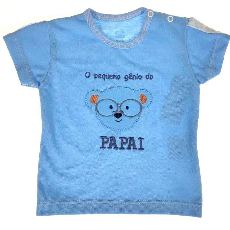 Camiseta Curta Bebê Azul Urso Genio do Papai