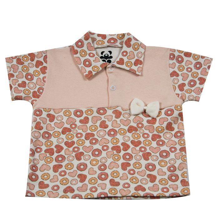 Camiseta Curta Bebê Salmão de Corações