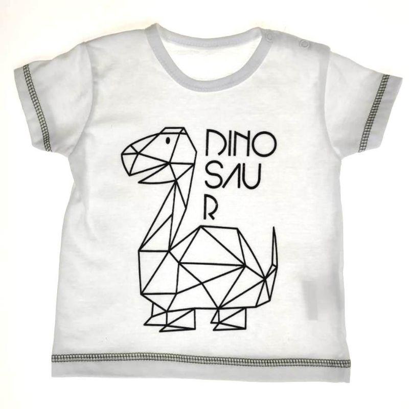 Camiseta Curta Branca Dinossauro