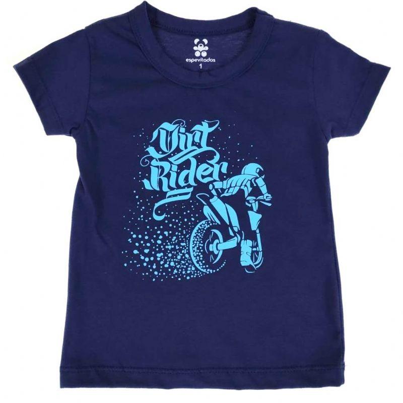 Camiseta Curta Infantil Azul Moto