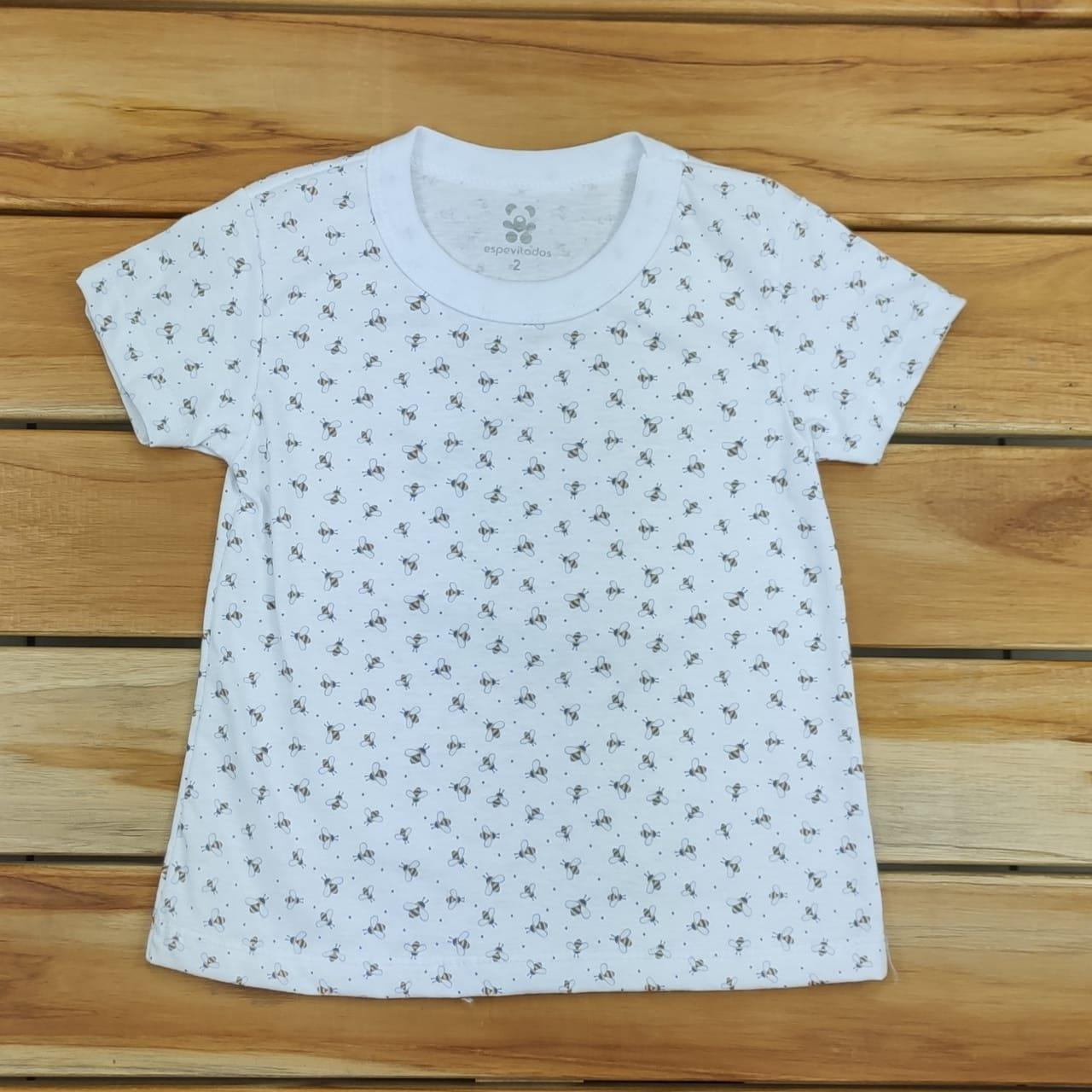 Camiseta Curta Infantil Branca Abelha