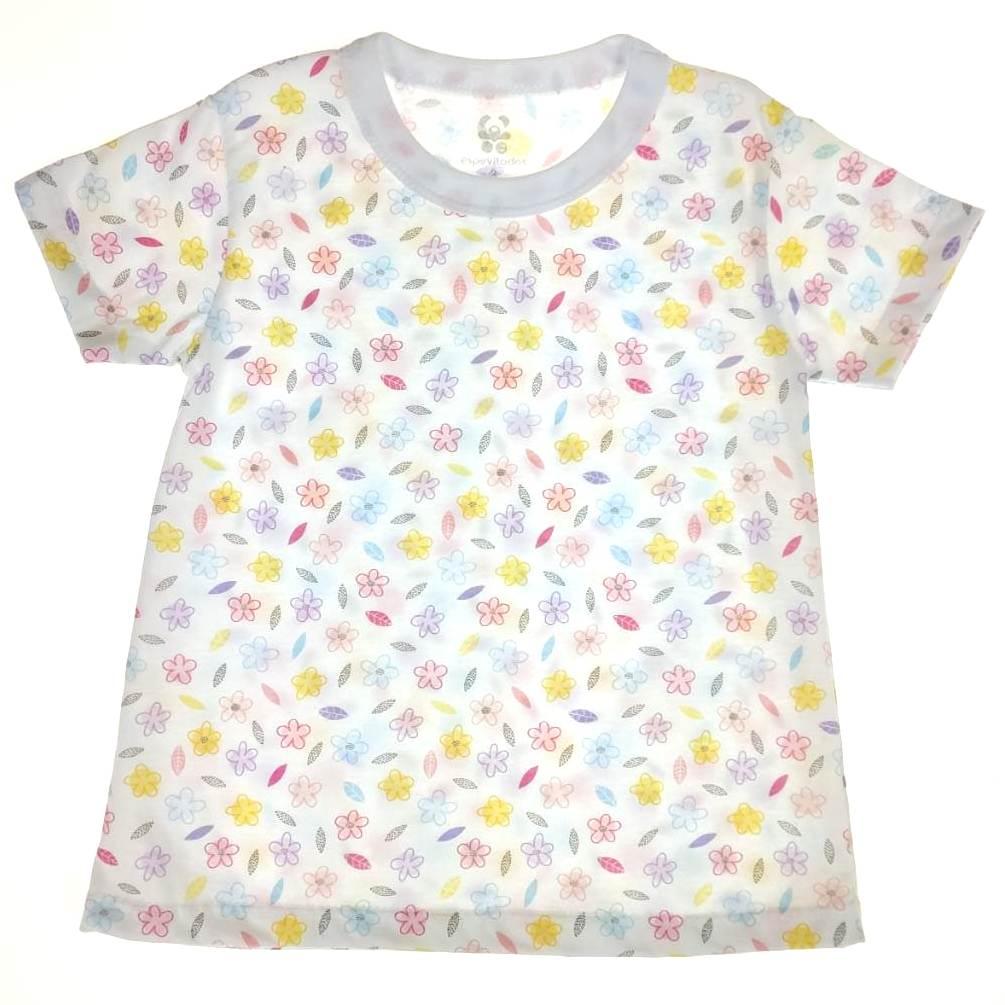 Camiseta Curta Infantil Branca Flores