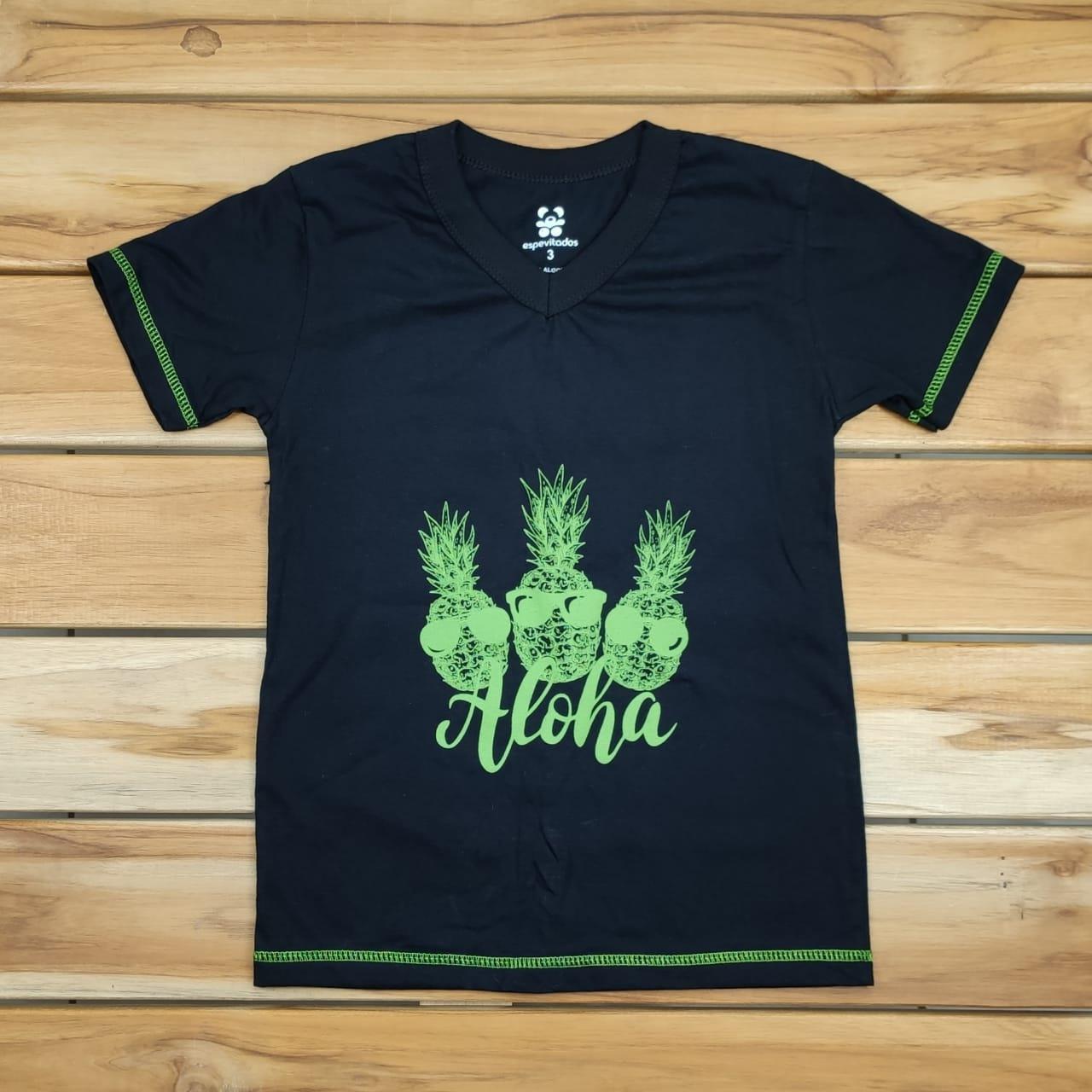 Camiseta Curta Infantil Preta Aloha