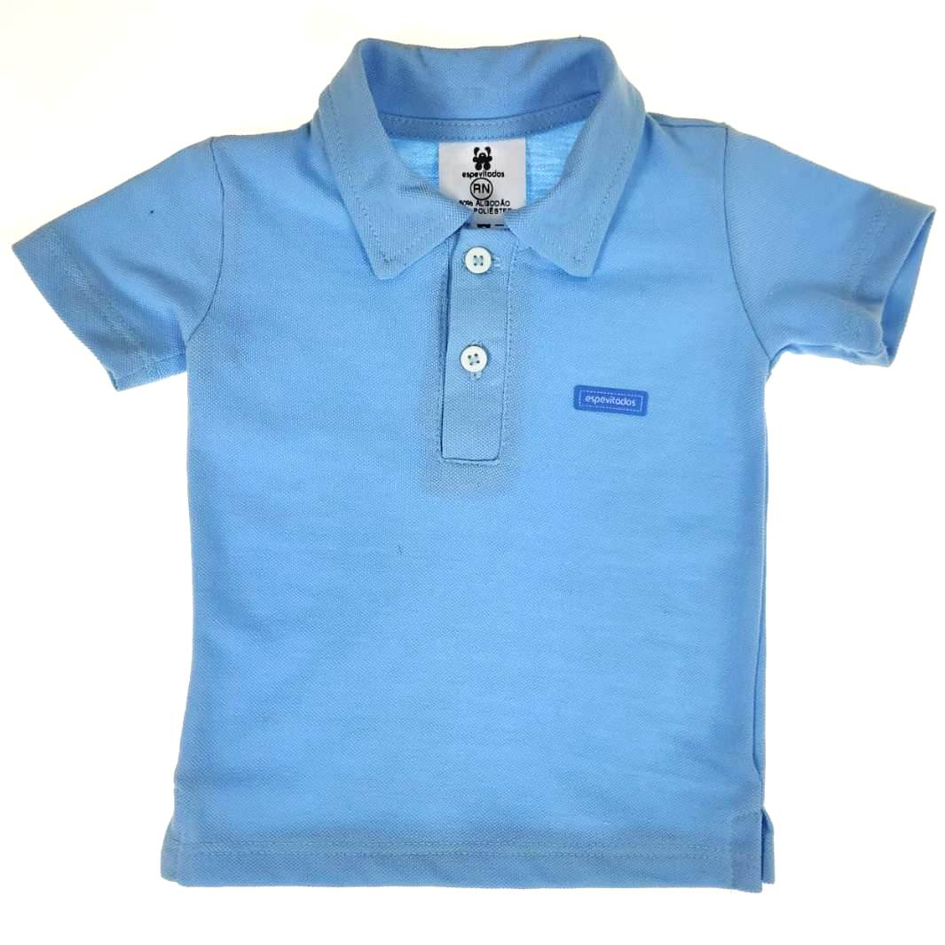 Camiseta Polo Curta Azul