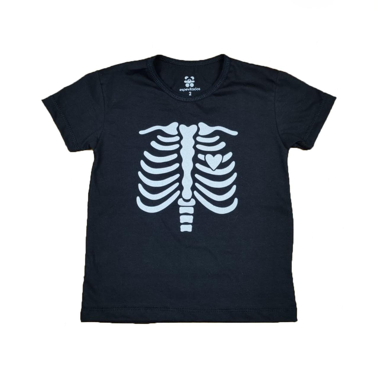 Camiseta Preta Esqueleto Fantasia