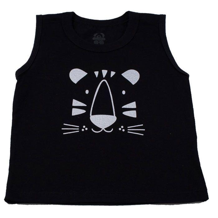 Camiseta Regata Infantill Preta