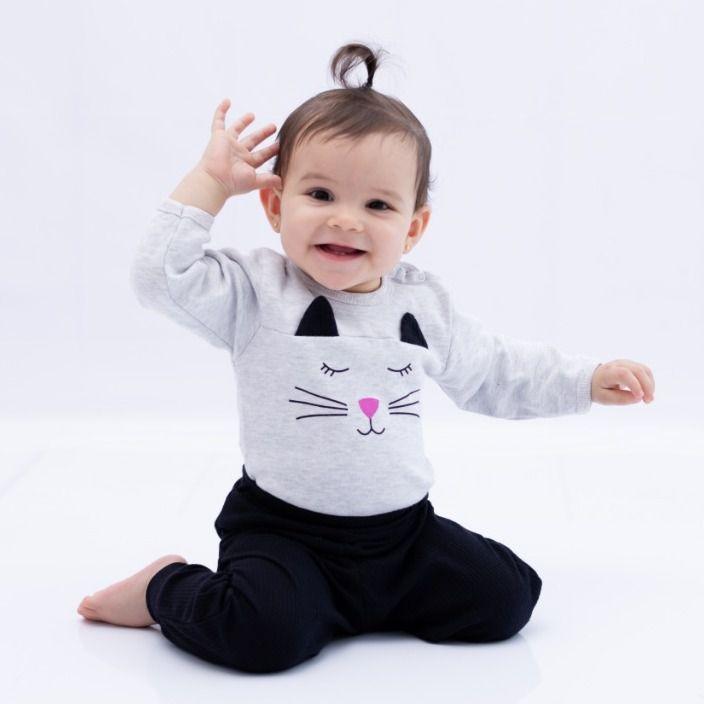 Conjunto Bebê Body e Calça Mescla