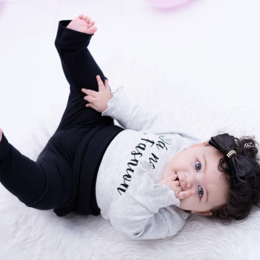 Conjunto Bebê Camiseta e Calça Mescla