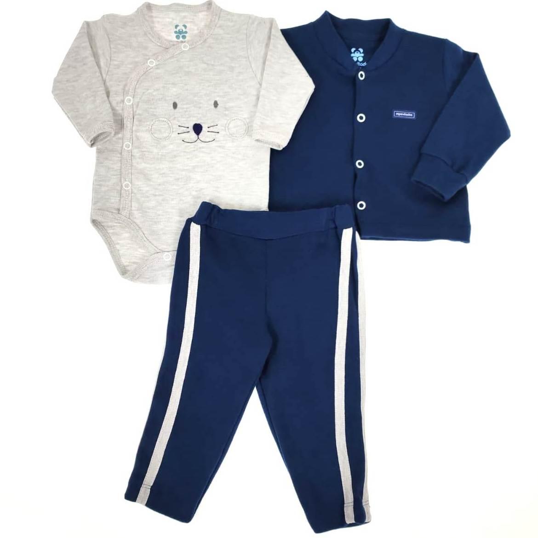 Conjunto Bebê 3 peças - Casaco, Body e Calça Azul