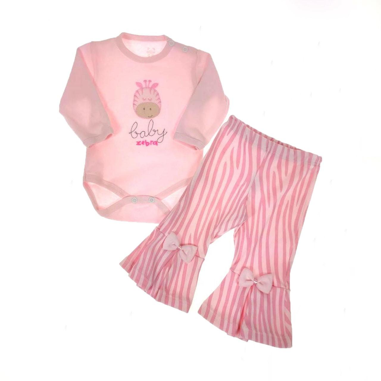 Conjunto Bebê Body e Calça Flare Rosa