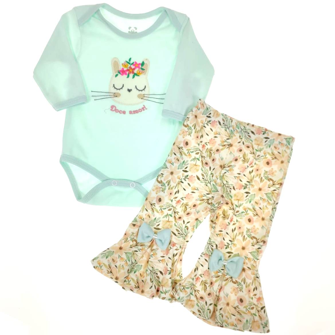 Conjunto Bebê Body e Calça Flare Verde