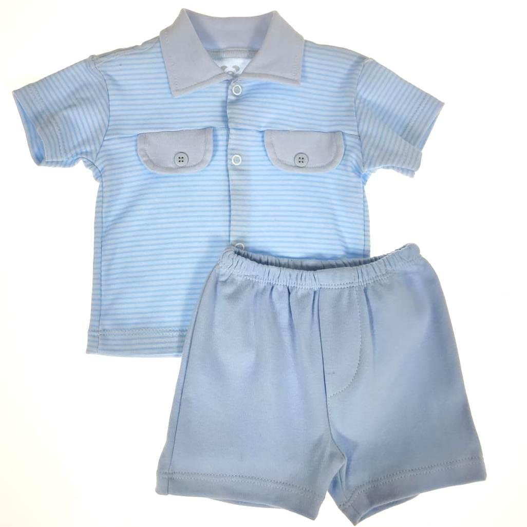 Conjunto Bebê Camiseta e Shorts Azul