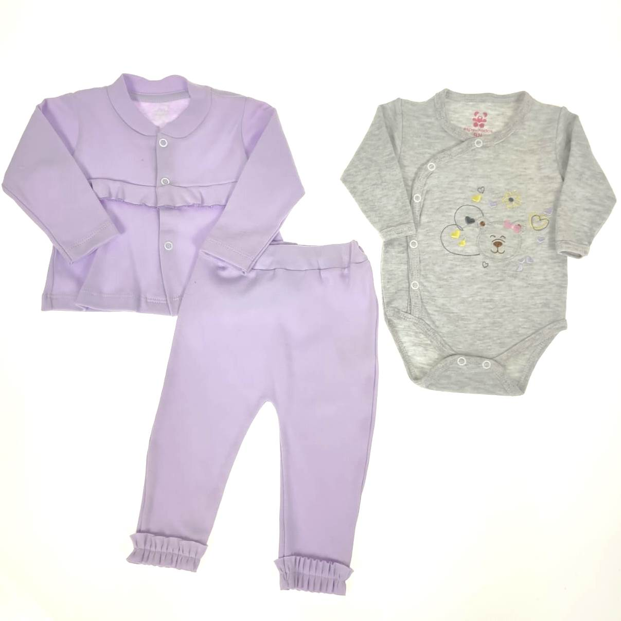 Conjunto Bebê Casaco Body e Calça Lilás