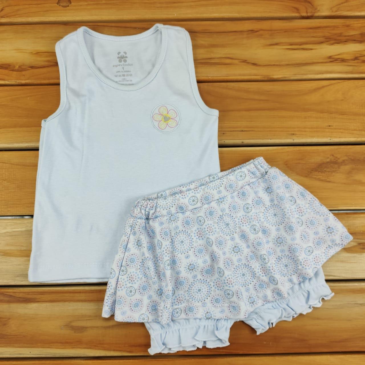 Conjunto Infantil Regata e Shorts Azul  Margarida