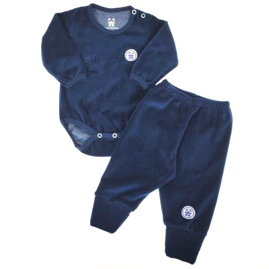 Conjunto Body e Calça de Plush Azul