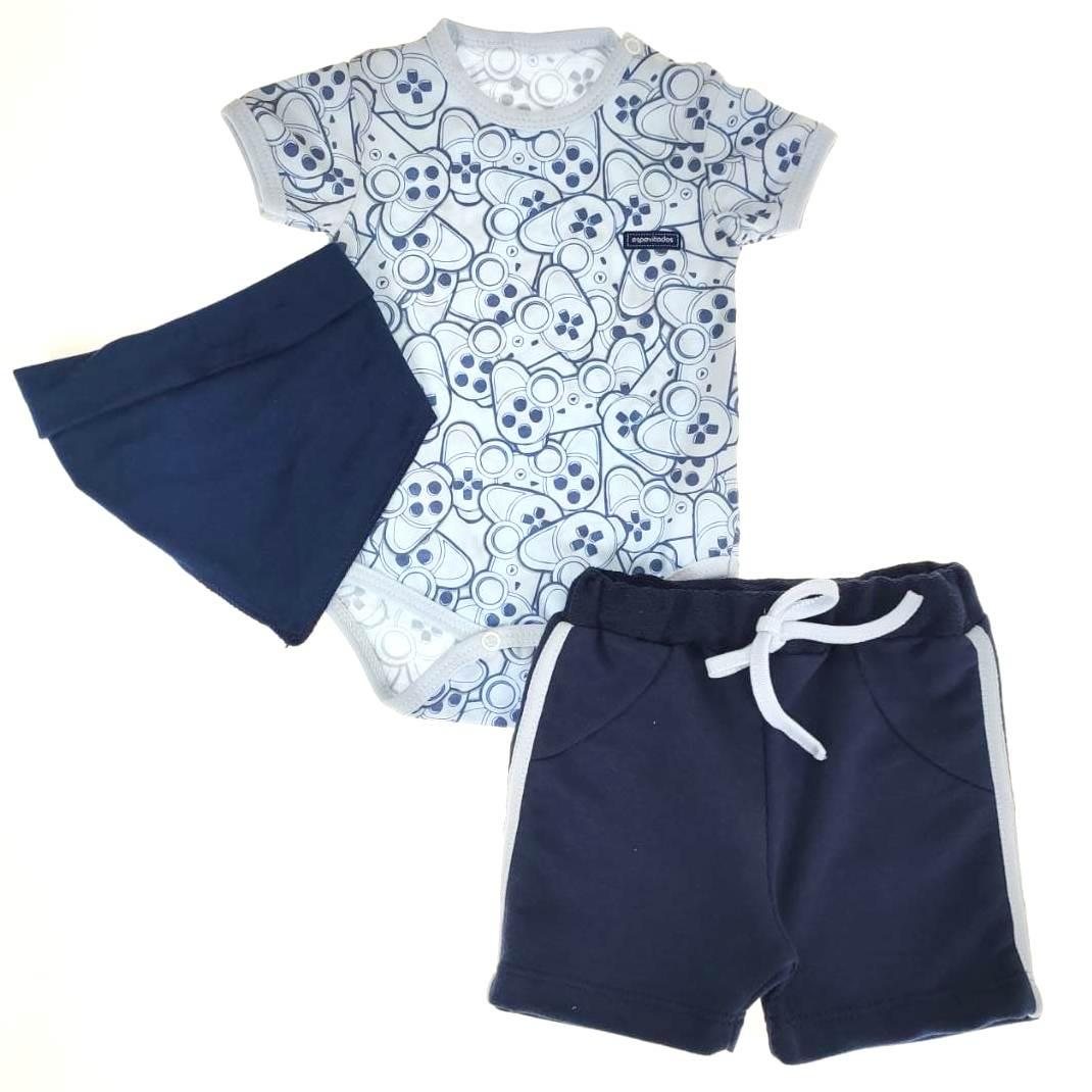 Conjunto Body e Shorts com Bandana Azul Play Controle