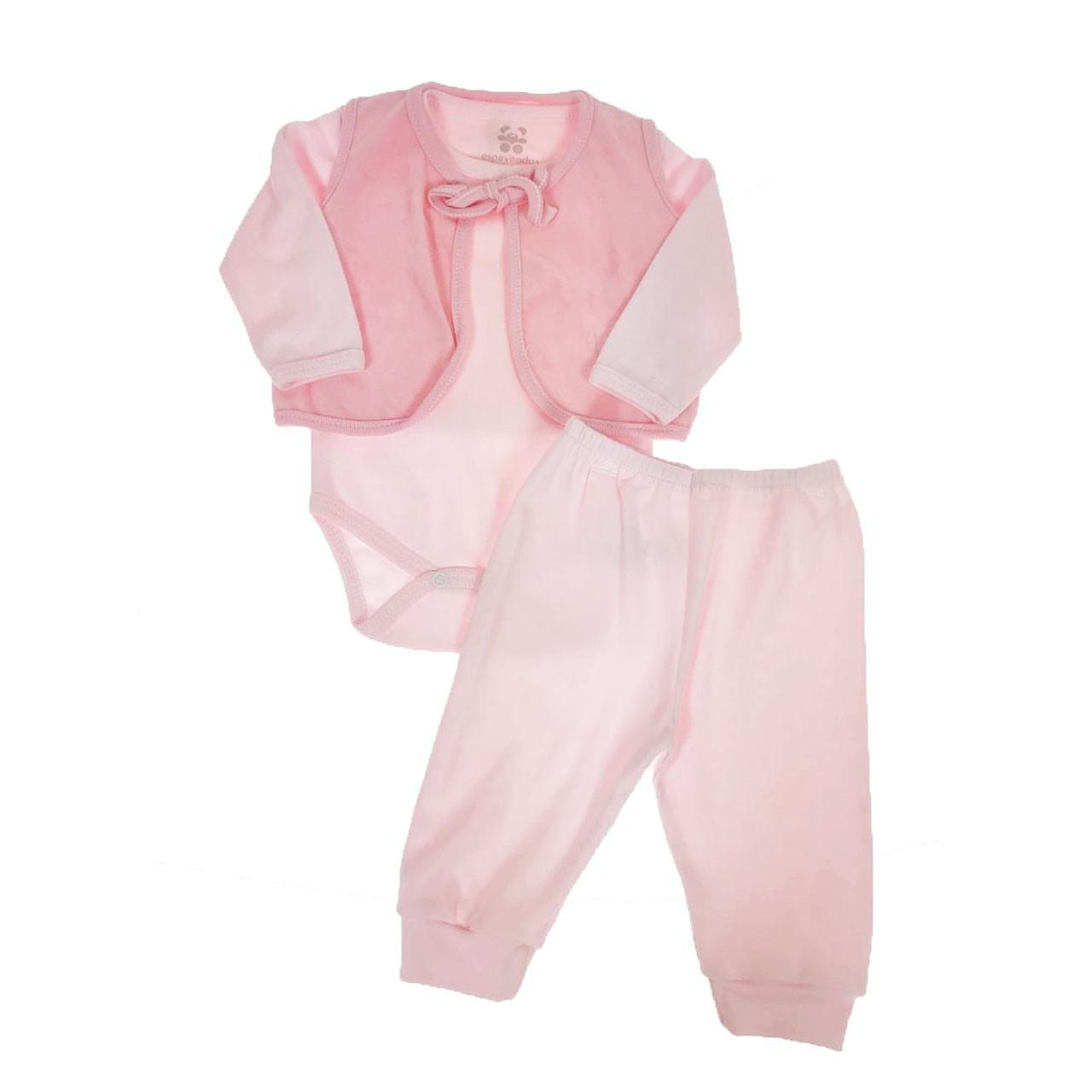 Conjunto Calça Body Casaco Rosa de Plush