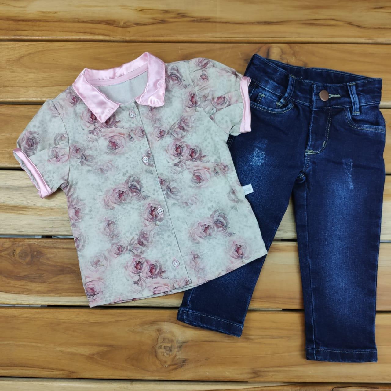 Conjunto Camisa e Calça Jeans Bebê Rosa