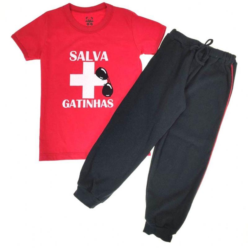 Conjunto Camiseta e Calça Salva Gatinhas