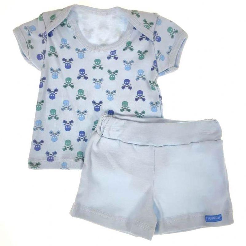 Conjunto Camiseta e Shorts Azul Caveira