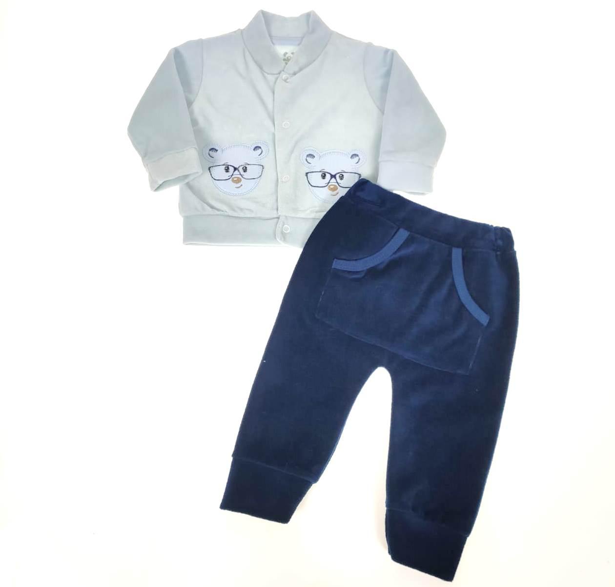 Conjunto Casaco e Calça de Plush Azul