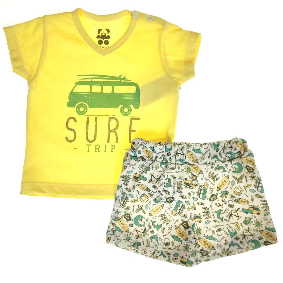 Conjunto Curto Amarelo Surf